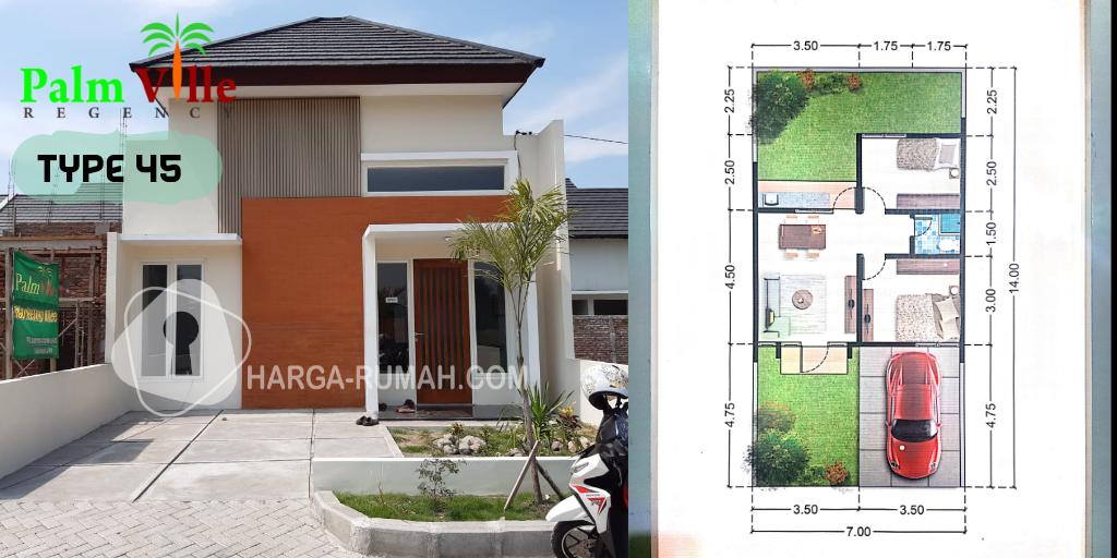 Rumah Contoh, Denah Type 45 Palm Ville Regency